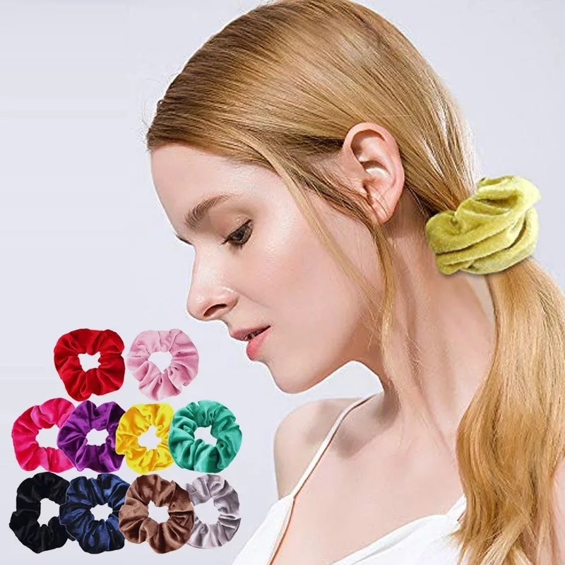 Baršunasta traka za kosu za žene i djevojke, elastične gumice za - Pribor za odjeću - Foto 3
