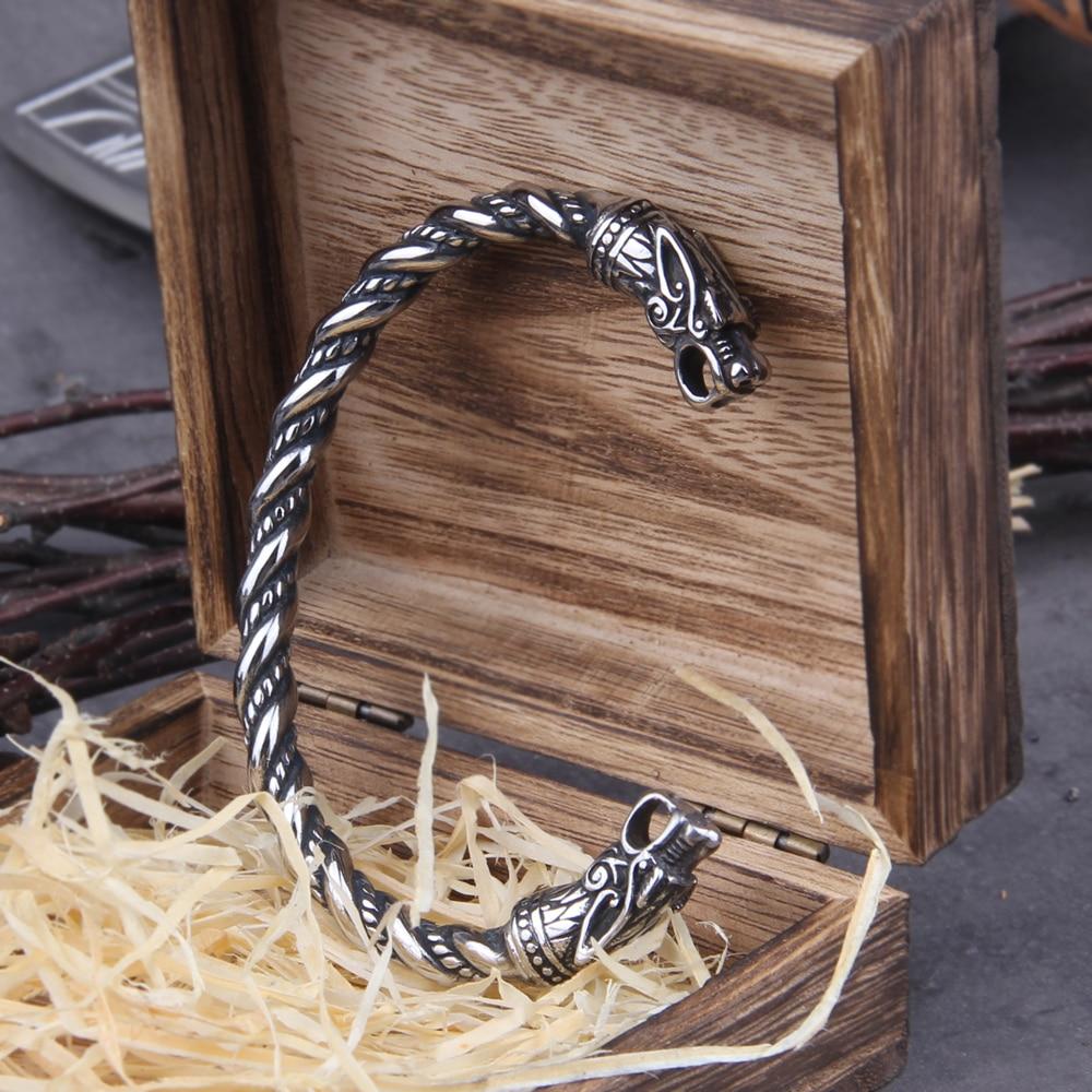 Pulsera de dragón de vikingo nórdico de acero inoxidable, brazalete de hombre con caja de madera vikinga