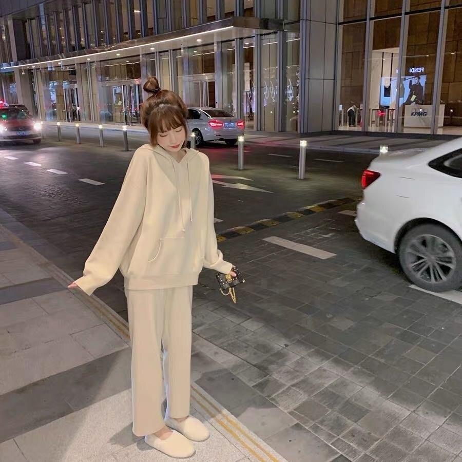 Zhenzhenjia Mit Kapuze Pullover frauen Herbst und Winter 2021 Lose Koreanische Top Stil Pullover Pullover Set