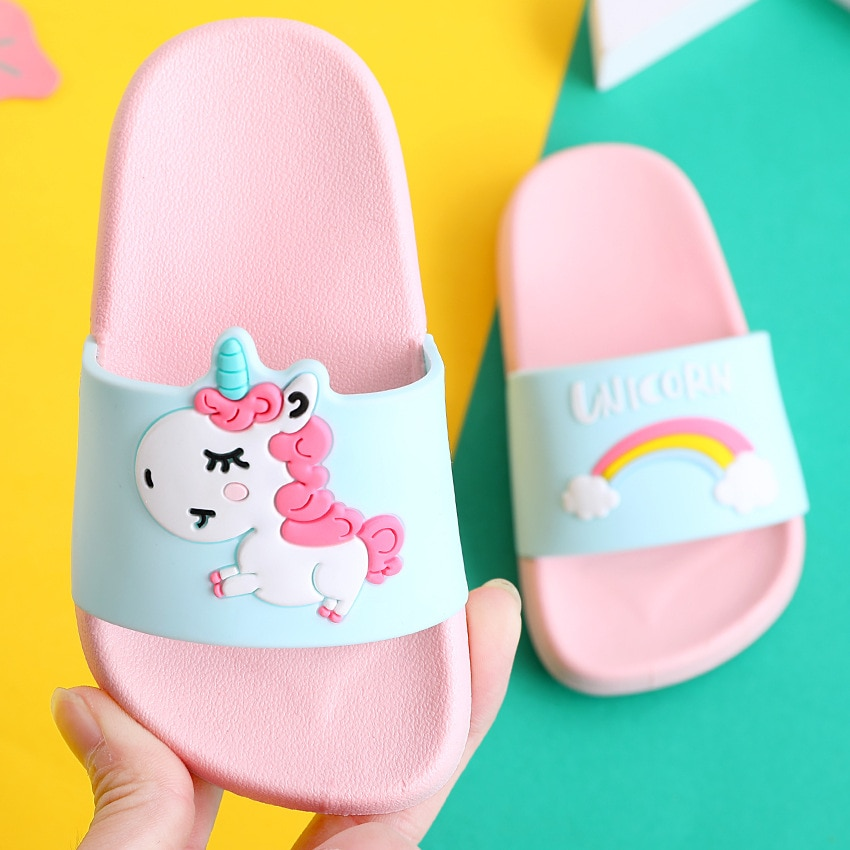 Nette Hausschuhe Einhorn Hausschuhe Junge Mädchen Schuhe Regenbogen Kleinkind Schuhe Baby Hausschuhe Cartoon Tier Strand Schwimmen Kinder Hausschuhe