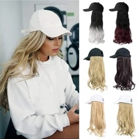 shangzi long wavy synthetic baseball white cap whit hair wig natural wigs removable naturally synthetic hat wig for girl