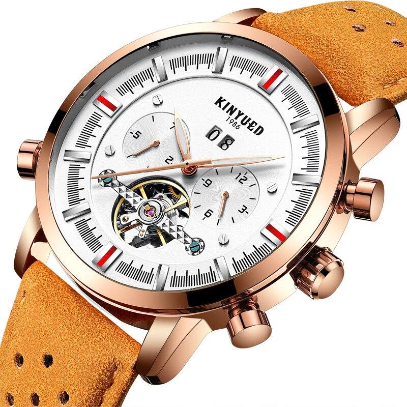 Reloj con correa transpirable de cuero de hombre suizo KINYUED con función de visualización de meses, relojes mecánicos masculinos completamente automáticos