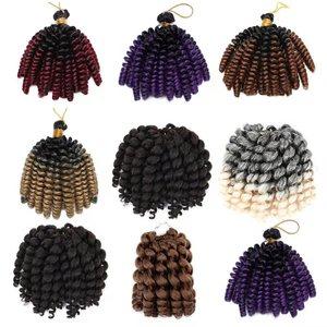 Kong&Li Bounce Crochet Hair Synthetic Braiding Wand Curly Crochet Spring Twist Hair Extensions 8 Inch Blonde Hair