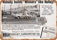 retro tin paintings tin sign new aluminum metal sign holley carburetors winners