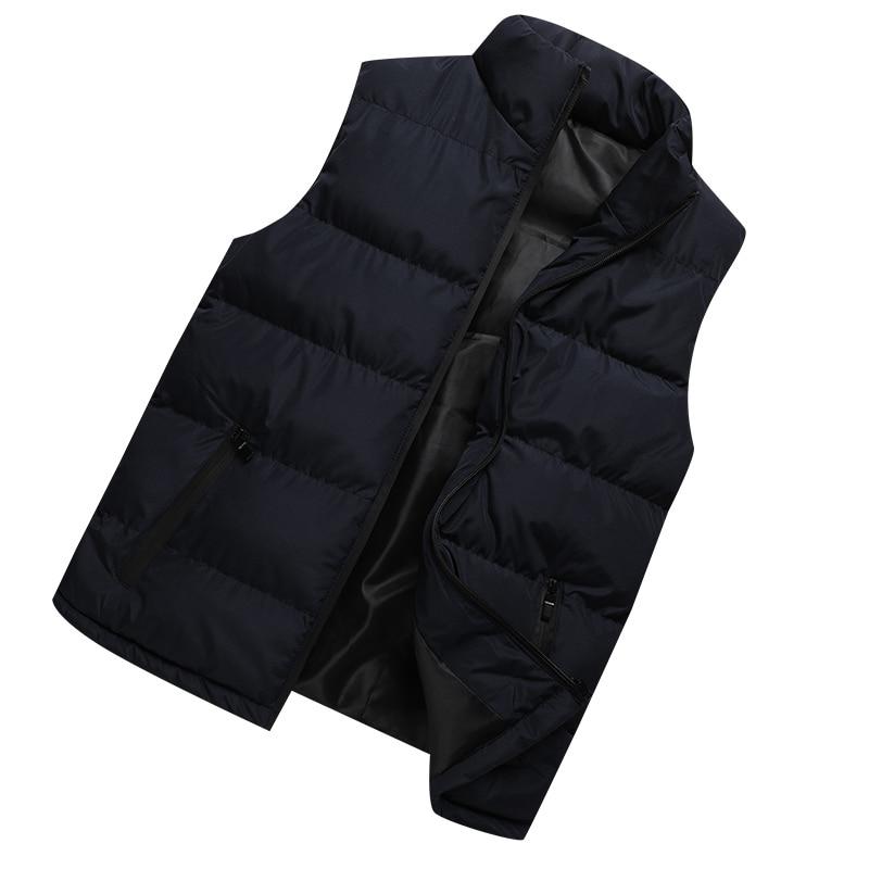 2019 New Casual Autumn Winter Vest Men Jackets Thick Vests Man Sleeveless Coats Male Warm Cotton-Padded Waistcoat Men Gilet