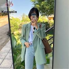 Korean Chic Women Jackets 2021 Autumn Winter Loose OL Blazers Casual Long Sleeve Basic Coat Thick Ou