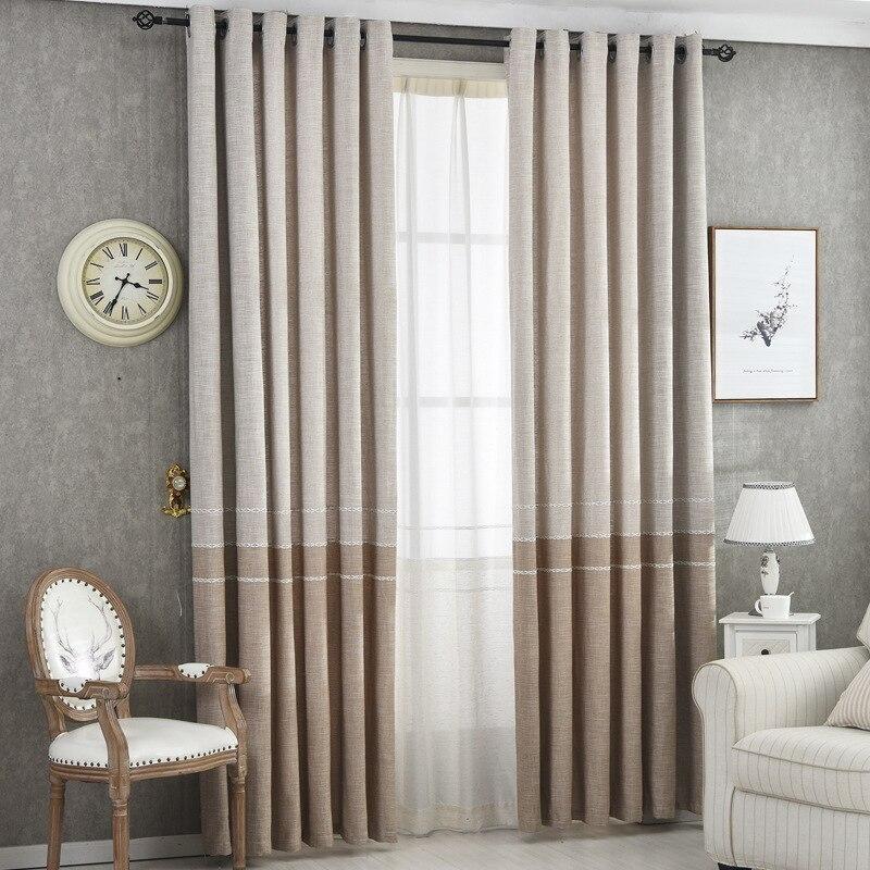 ستائر من الكتان السميك البني غير الشفاف ، لغرفة المعيشة ، غرفة النوم ، علاجات النوافذ ، الألواح