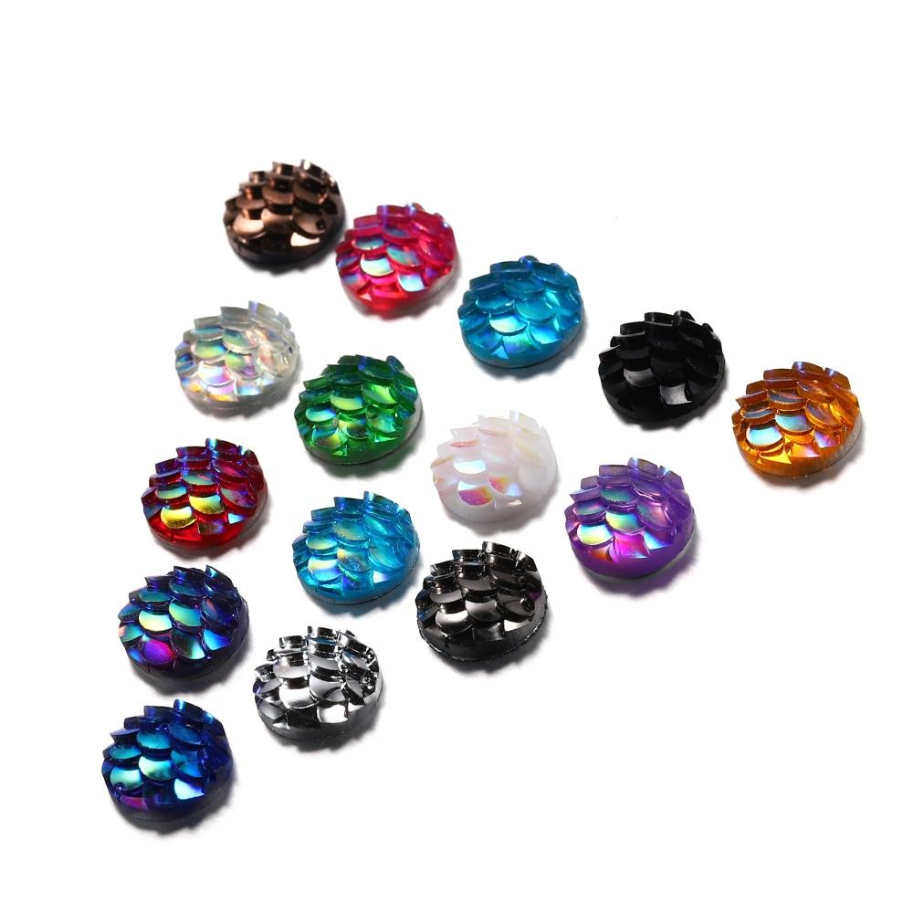 Cabujones de resina de sirena pez escamas con reverso plano de 8mm para Diy, Pendientes colgantes, accesorios de joyería epoxi, suministros de artesanía 50 Uds.