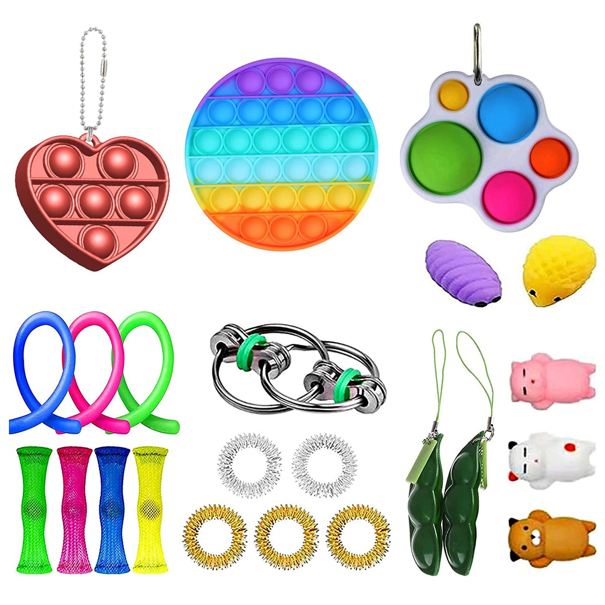 23PCS Fidget Sensory Toy Set Stretchy Strings Adults Kids Stress Relief Toys Autism Special Needs Anti Stress Toys