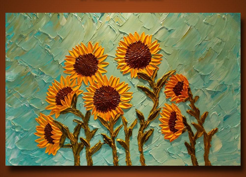 Pintura al óleo pintada a mano de la pared de girasol pintura al óleo texturizada pintado a mano citas inspiradoras arte de vinilo