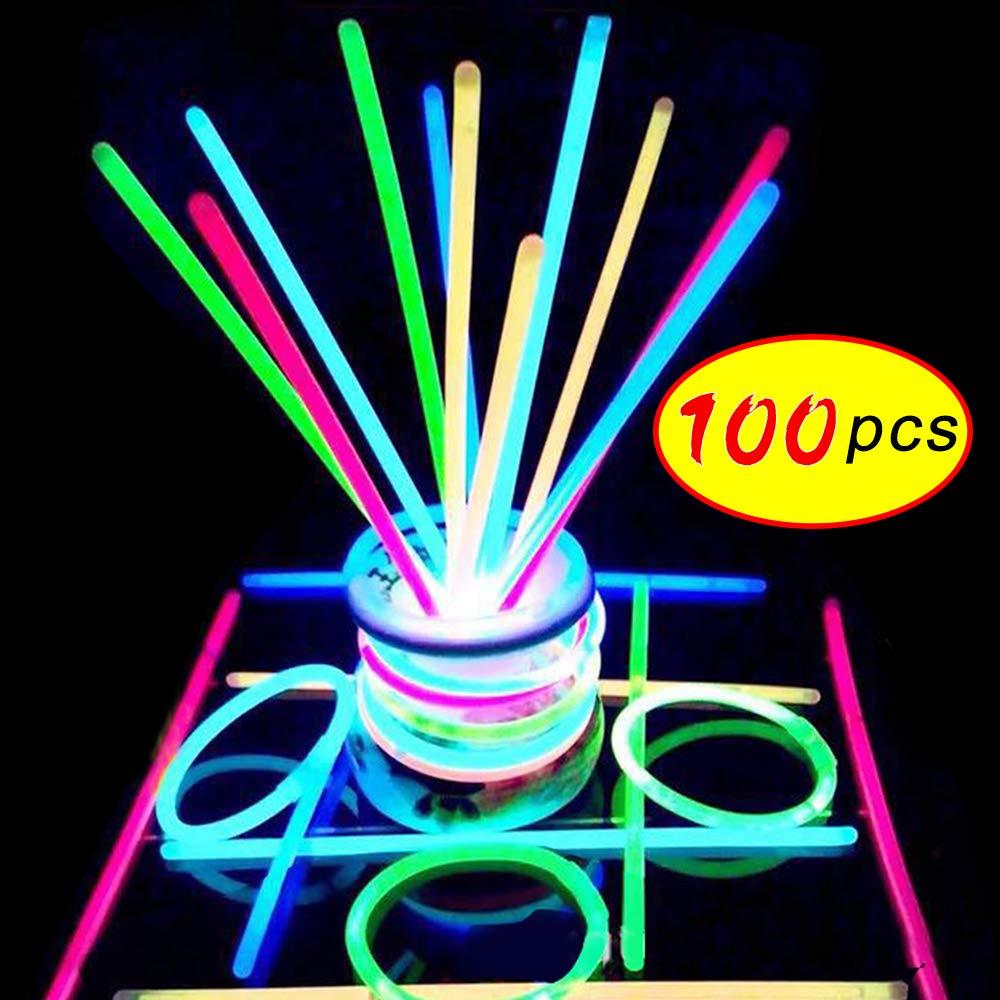 100PCS Party Fun Fluorescence Light Glow Sticks Bracelets Necklaces Neon Wedding Bright Colorful Light Event Festival Supplies