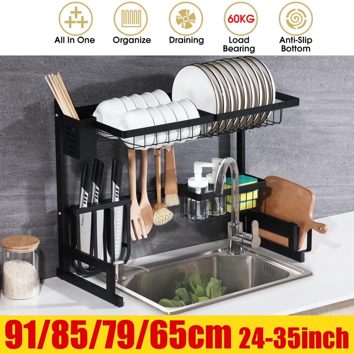 منظم أرفف من الفولاذ المقاوم للصدأ 24-35 بوصة ، رف تجفيف الأطباق على الحوض ، منظم سطح العمل