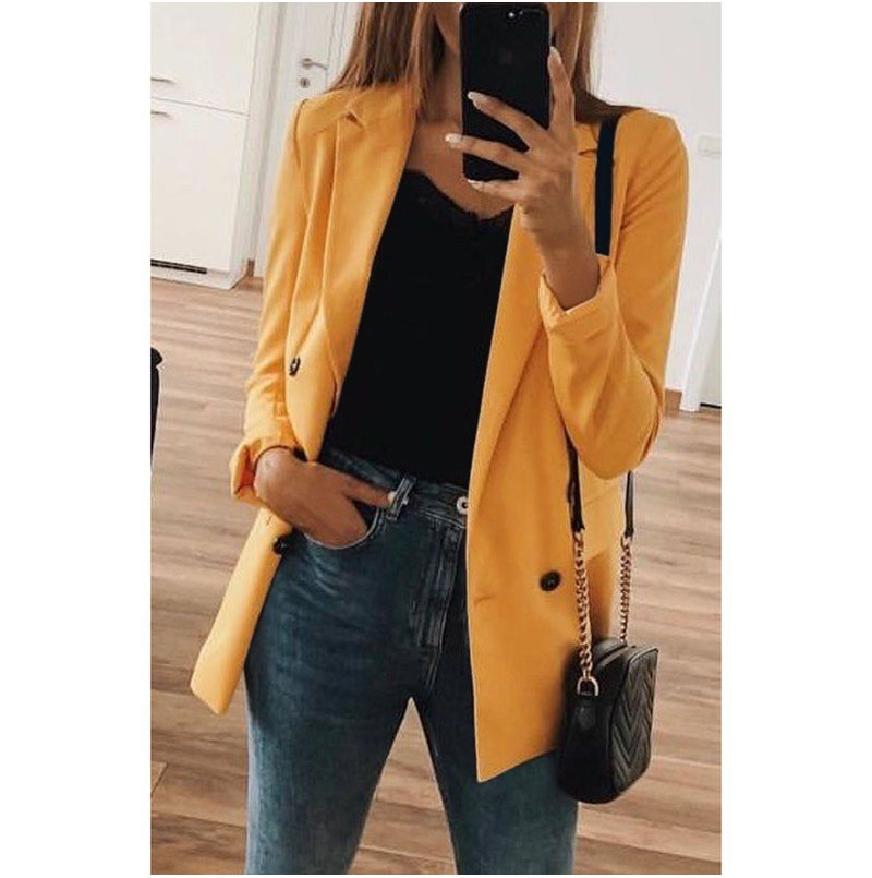 Blazer feminino manga longa gola v, blazer feminino clássico vintage