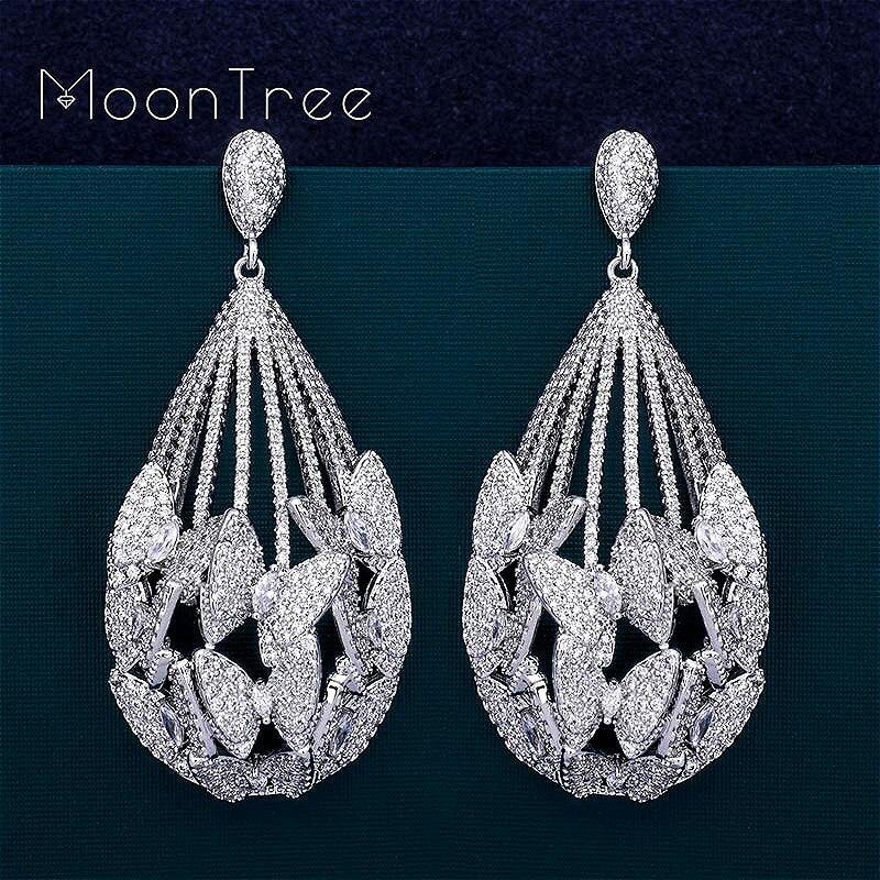 MoonTree-أقراط على شكل فراشة مكعبة ، مجوهرات فاخرة ، شكل قطرة ماء AAA ، دائرة زركونيا مكعب ، دبي ، لحفلات الزفاف والخطوبة