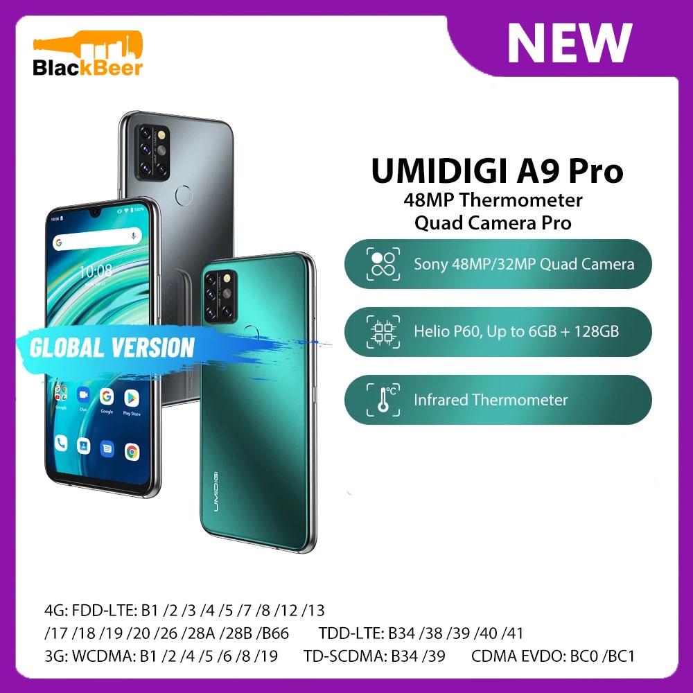 Перейти на Алиэкспресс и купить UMIDIGI A9 Pro 6,3 дюйма 4G мобильный телефон MTK Helio P60 восьмиядерный смартфон 6G RAM 128G ROM 4150mAh глобальная версия 48MP Al Camera