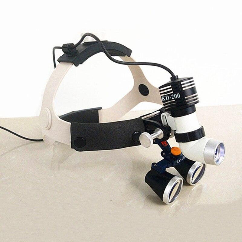 عدسة مكبرة ثنائية العينين عالية الجودة ، عدسة مكبرة لجراحة الأسنان ، مصباح أمامي طبي LED 5 وات