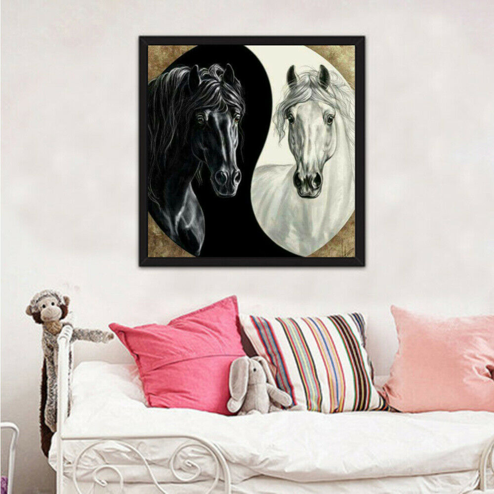 5d diy pintura diamante cruz ctitch kits diamante mosaico bordado fofoca cavalo preto e branco 3d pintura broca redonda presente