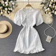 Small dress women's summer dress 2021 new sweet wood ear collar cut-out bubble sleeves short skirt t