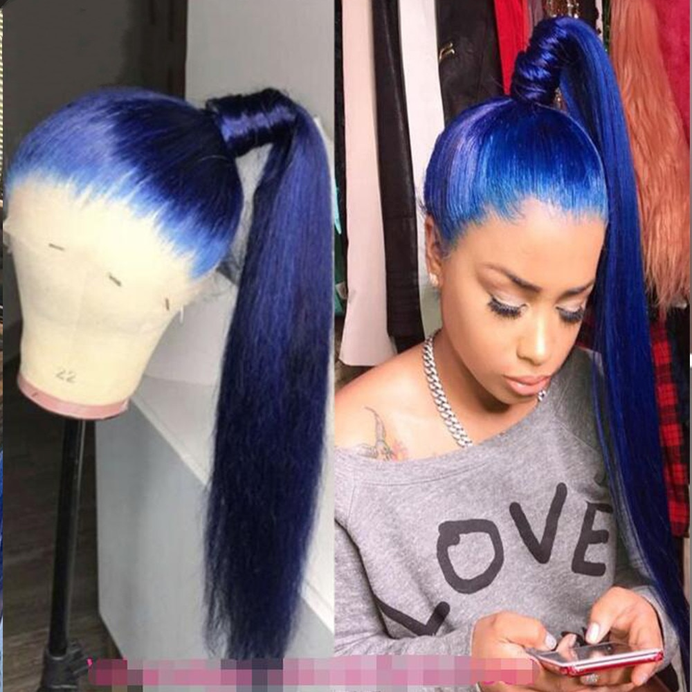 Deep Blue Glueless 13x4 Lace Front Straight With Baby Hair Brazilian Virgin Human Hair Wig 180 Density