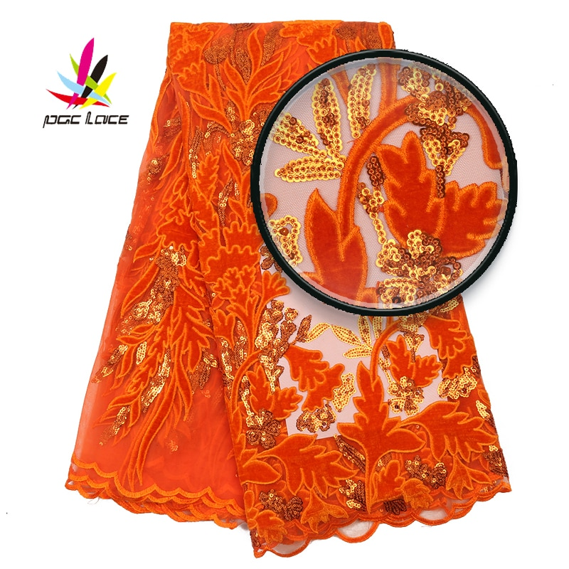 Velvet Net Lace Fabric Orange Color Sequins French African Nigerian Latest Design High Quality Tulle 2020 For Wedding Dress