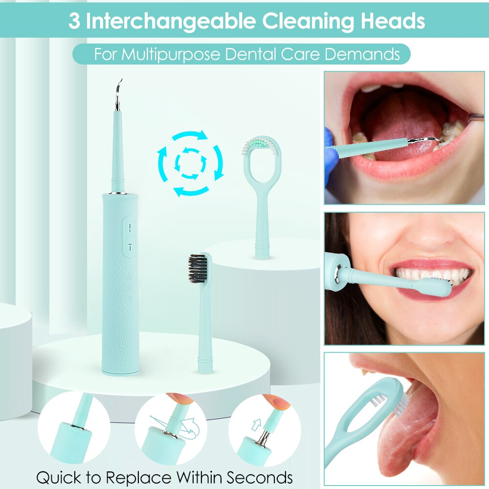 Ultrasonic Vibration Teeth Whitening Tool USB Charging Dental Cleaning Polisher High Frequency Tooth Stains Cleaner enlarge