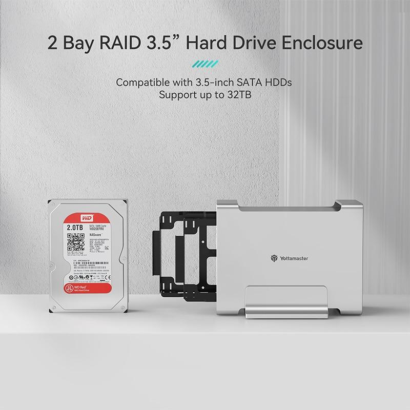 Yottamaster DR2RC3-35 HDD/SSD Case SATA3.1/3.2 Gen2 10Gbps Max UASP 32TB Max Type-C hard disk External Raid Hard Drive Enclosure enlarge