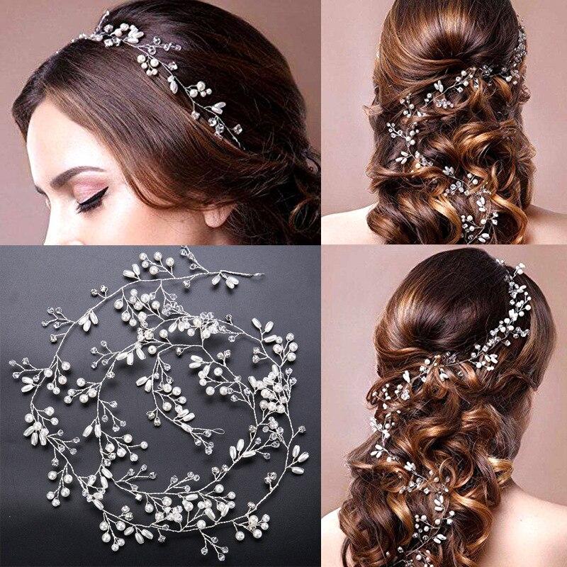 Diadema nupcial, tocado de moda, moño de boda hecho a mano, accesorios para el cabello con perlas florales, joyería de boda