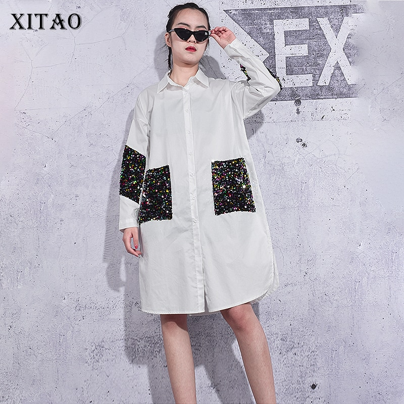 XITAO-بلوزة مطرزة بصدر واحد للنساء ، أنيقة ، مرقعة ، مروحة إلهة ، نمط غير رسمي ، قميص فضفاض ، ZY3779