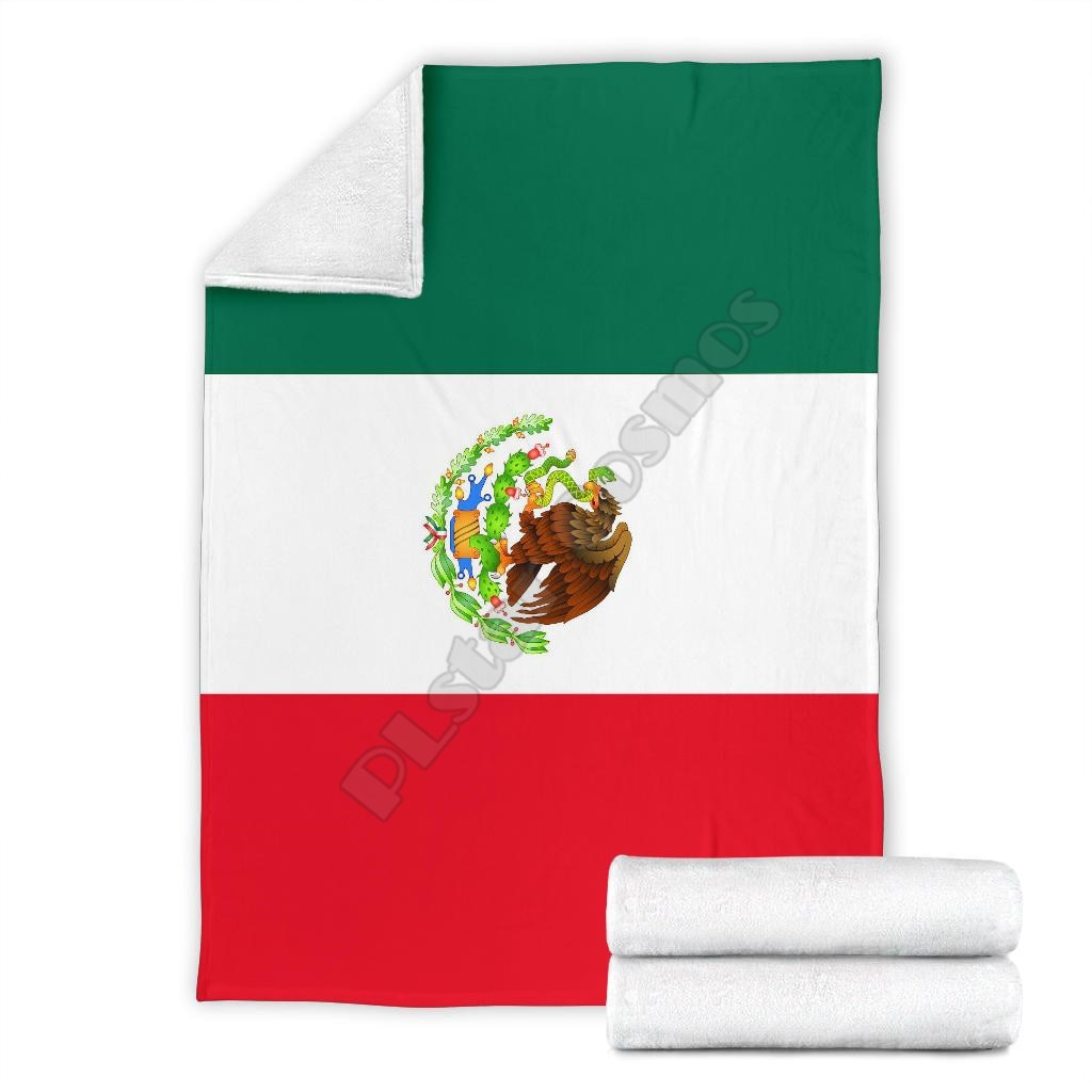Mexican Flag Fleece blanket dog printed Wearable Blanket Adults For Kids Warm Sherpa