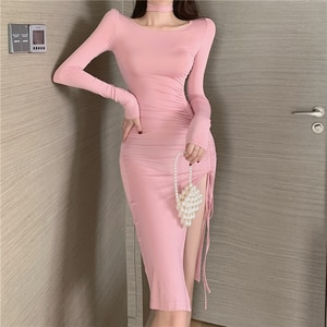 Summer Autumn Dress Women 2020 Sexy Long Sleeve Slim Elastic Bodycon Bandage Dress evening Party Dresses korean fashion indie