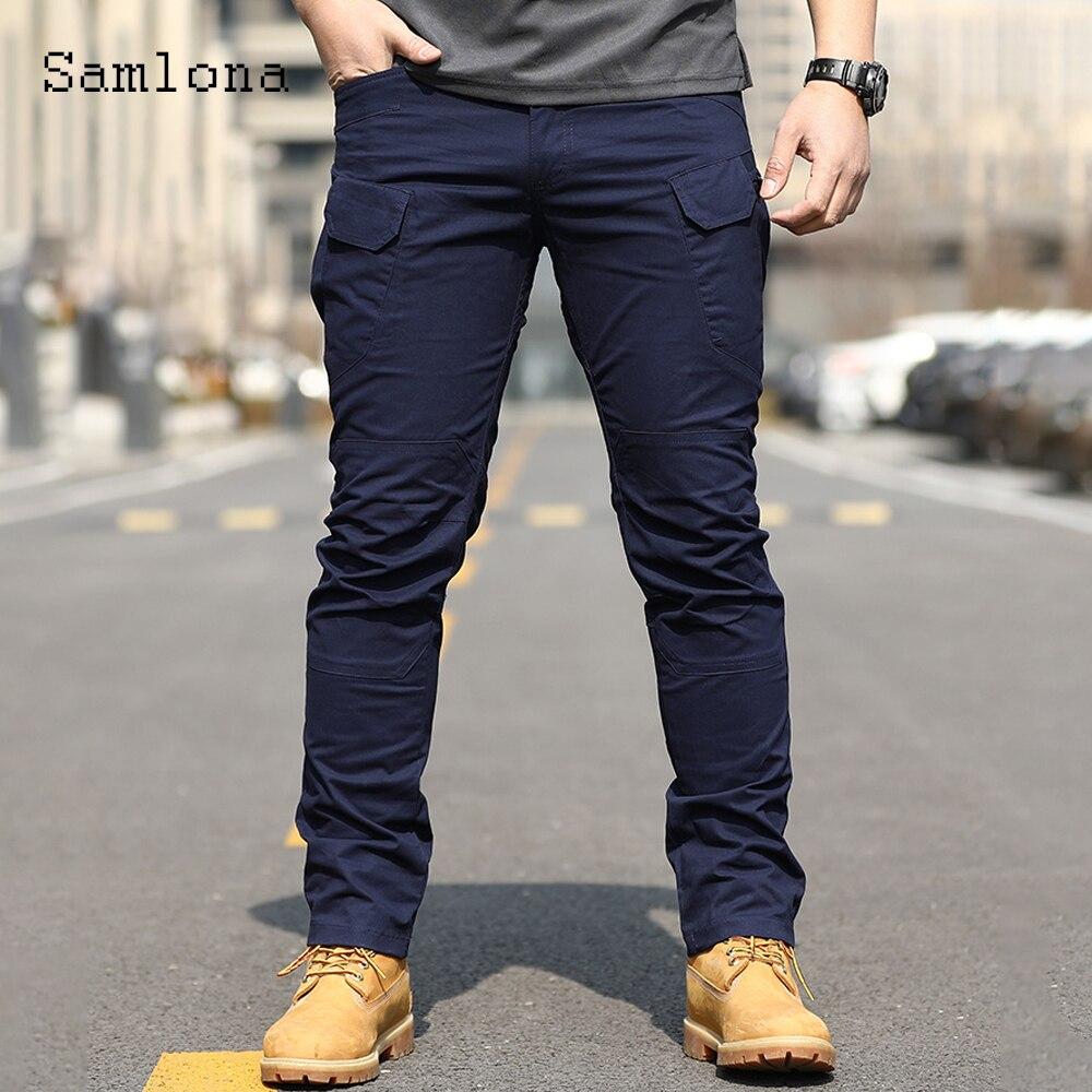 Plus Size Mens Cargo Pants 2021 European Style Pants Fashion Zipper Pockets Trousers Outdoor Casual Skinny Pant Male Streetwear zipper fly pockets embellished plus size cargo pants