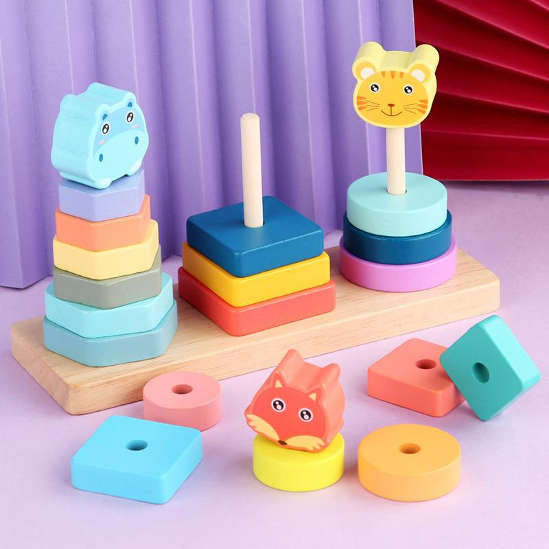 Montessori Baby Toys Kids Educational Wooden Building Blocks Geometric Shape Color Matching Board Toy Birthday Gift for Children baby recognition color logic intelligence toys geometric bricks cube matching building blocks toy baby early education gift toy