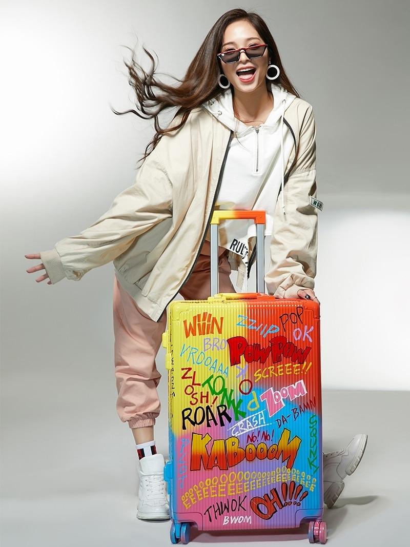 Fashion Graffiti Suitcase Spinner Aluminum Frame Hardside Travel Suitcase On Wheel Travel Bags Trolley Luggage Bag 20