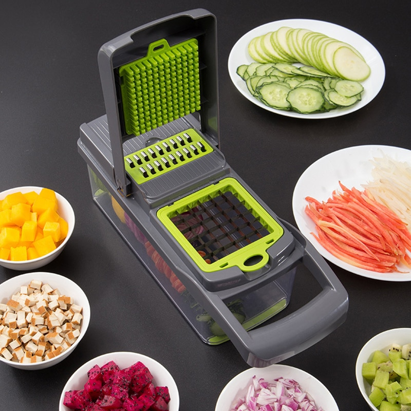 Multifunción herramienta para frutas y verduras trituradora de patatas picadora de mandolina de verduras peladora cortadora de zanahoria Ralladora