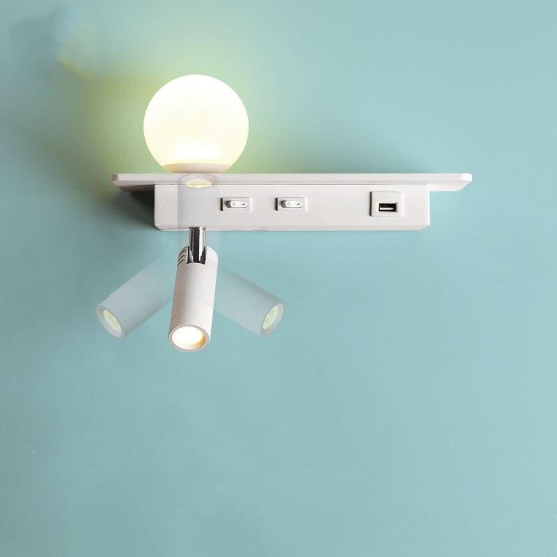 غرفة نوم وحدة إضاءة LED جداريّة أضواء مع التبديل 5 فولت 2.1A USB شحن واجهة مع زهرة الإنارة يندبروف تركيبات داخلي ديكو ميزون