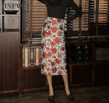 Jacquard High Waist Skirt Women Floral Bodycon Pencil Skirt Knee Length Ladies Vintage Skirt Spring 2020 P037