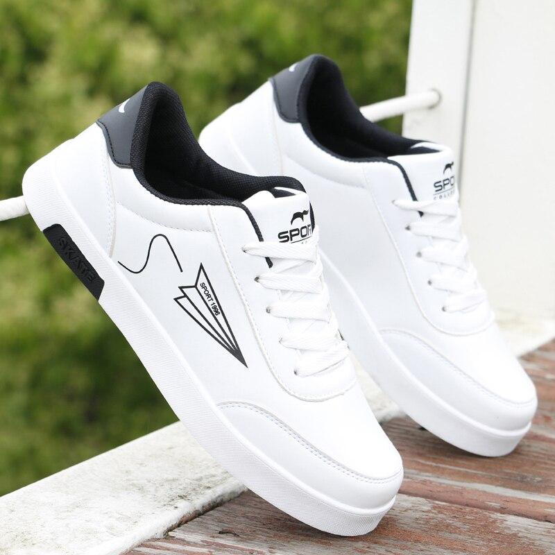 Мужская обувь 2021, Мужская Вулканизированная обувь, кожаная обувь, Мужская модная белая обувь, недорогая обувь, спортивная обувь без застежк...