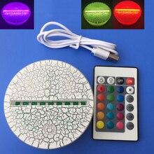ABS acrylique 3D LED veilleuse lampe socle support tactile télécommande noir USB câble dalimentation pour cadeau danniversaire de noël