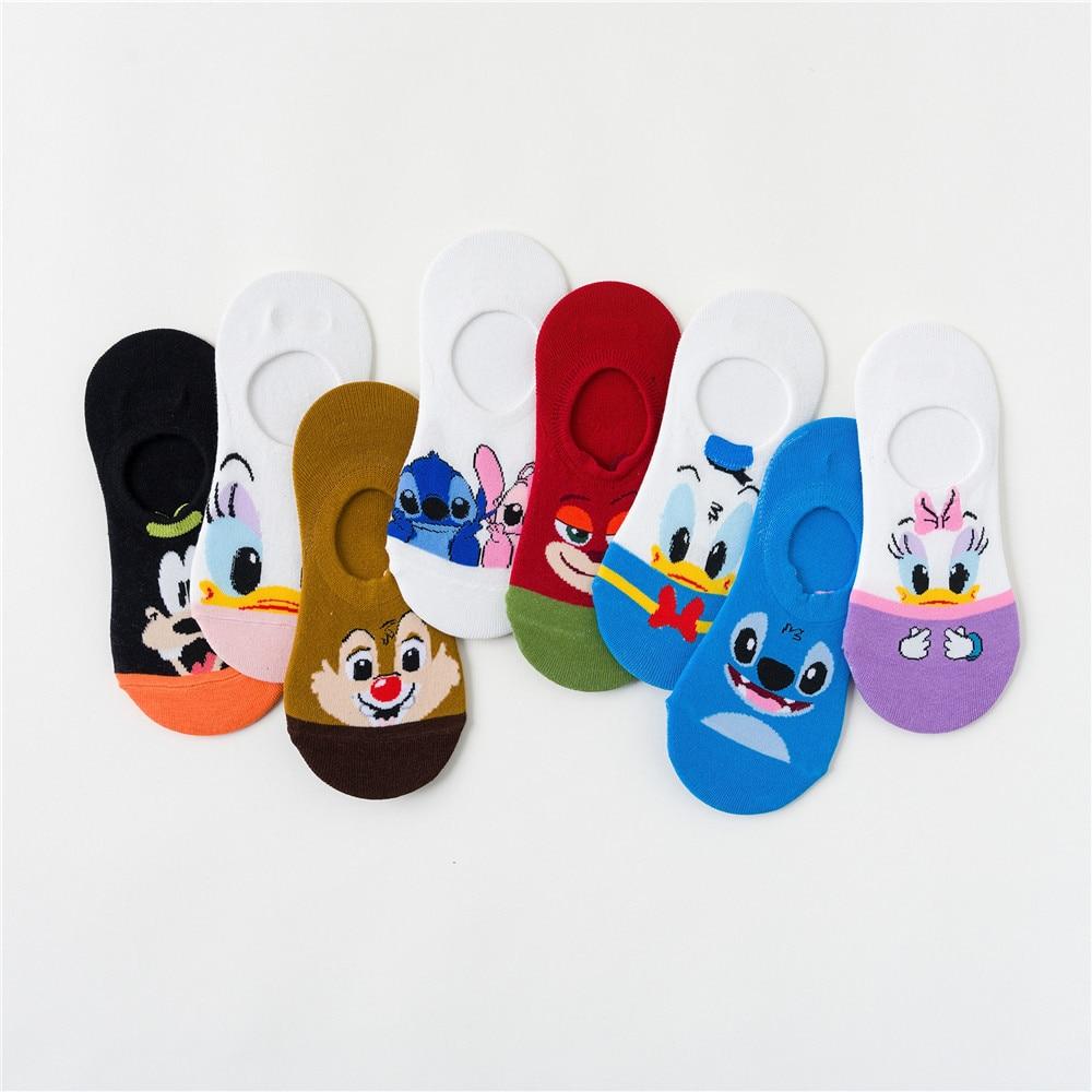 Calzini corti da cartone animato Disney calzini da barca a punto pantofola stampati calzini in cotone da donna con topolino estivi invisibili felici