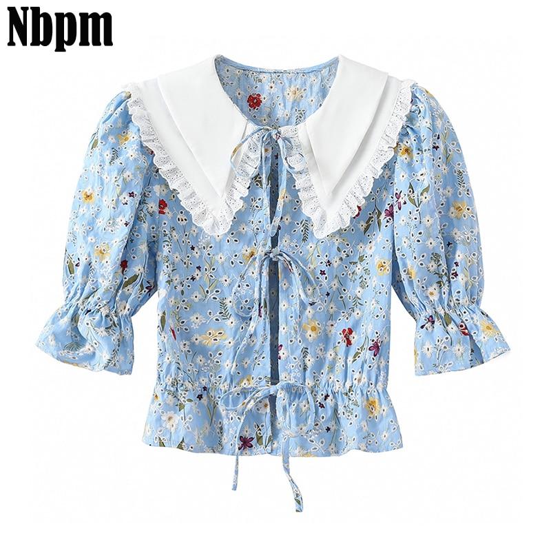 Short Shirts Women Print Summer Chic Tunic Shirt Casual Women's Blouses Elegant Vintage Female Streetwear Drawstring Top Blusas
