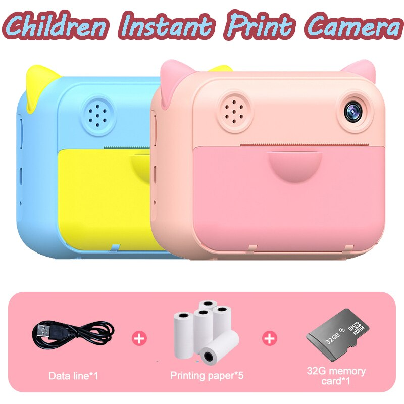 كاميرا صغيرة للطباعة الفورية للأطفال ، 1080 بكسل ، HD ، صور رقمية ، فيديو ، أطفال ، مع أوراق صور حرارية ، بطاقة TF 32 جيجابايت