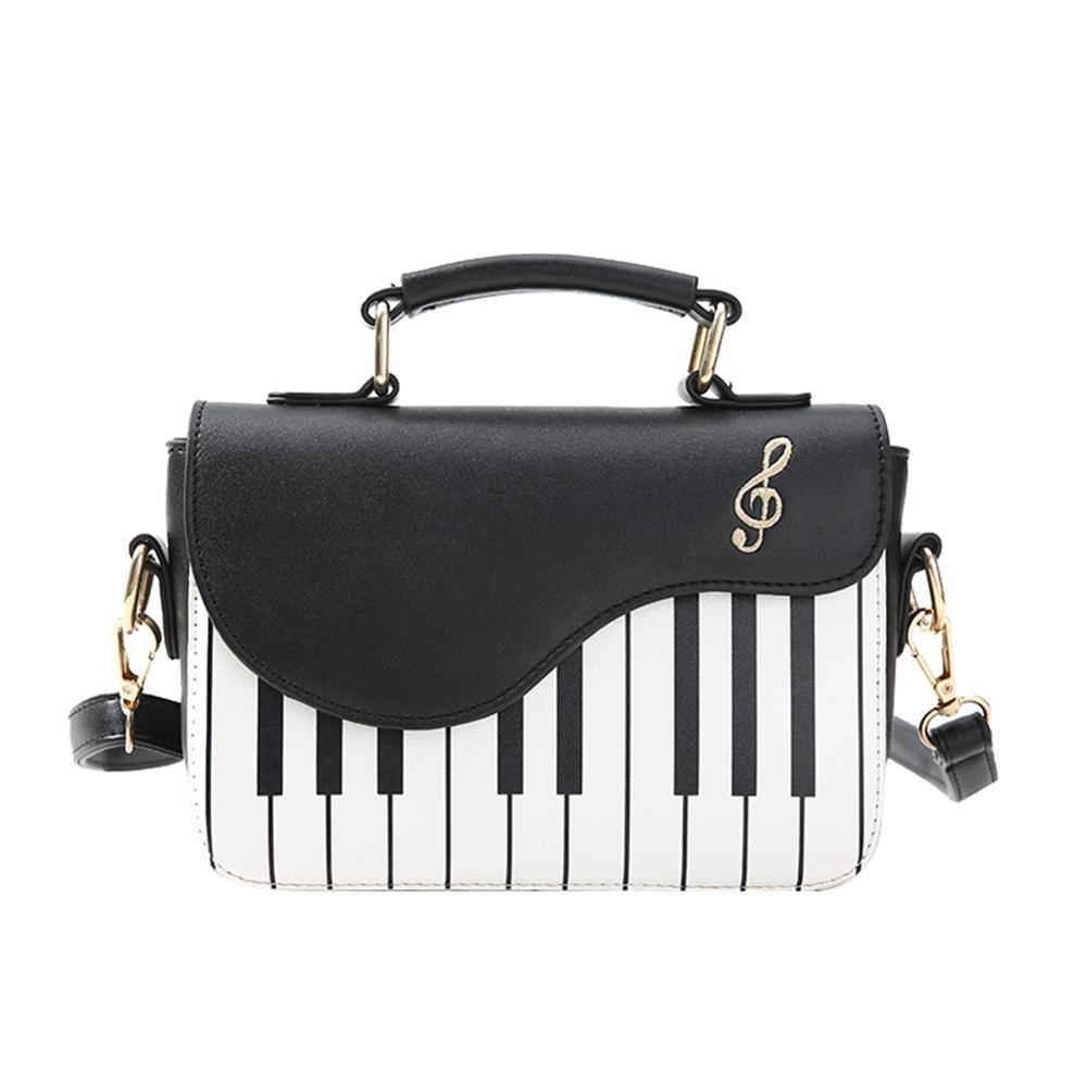 Bolso de hombro bonito con patrón de Piano, bolso de cuero de poliuretano para mujer, bolso bandolera cruzada informal, bolso de mujer con solapa