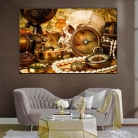 vintage light luxury golden pearl and skull compass globe poster canvas painting picture living room aesthetic room decor