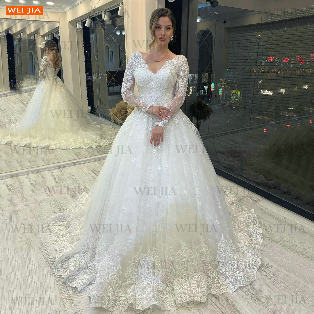 فاخر العربية الخامس الرقبة الزفاف فستان بأكمام طويلة 2021 فيستدو دي نوفيا للنساء الدانتيل يصل فستان زفاف مخصص رداء دي ماريج