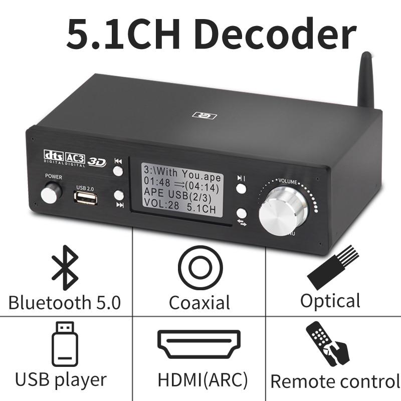HD920 5.1CH محلل شفرة سمعي بلوتوث 5.0 ريسيفر داك DTS AC3 دولبي أتموس 4K HDMI متوافق محول SPDIF قوس PCUSB كارت الصوت