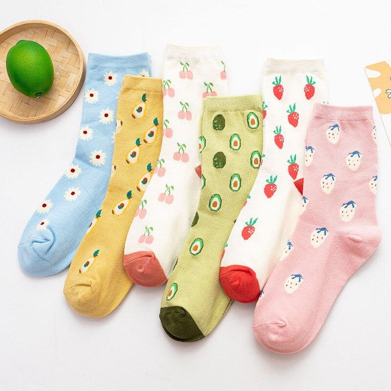 Japanese Cartoon Fruit Creative Crew Socks Women Cotton Strawberry Avocado Cherry Korean Girls Sweet Harajuku Cute Long