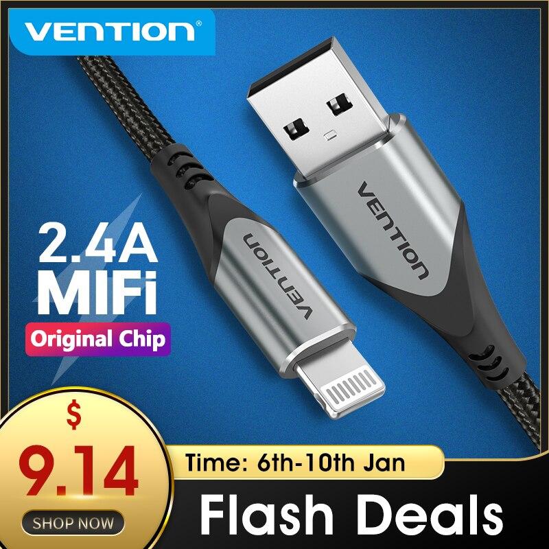Vention mfi cabo usb para iphone 12 max 11 xs x 8 mais carga usb para iphone 12 mini 2.4a carregamento rápido carregador usb cabo de dados