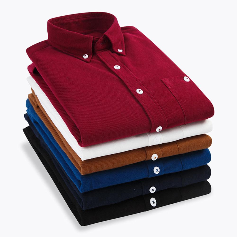 Мужская винтажная Вельветовая рубашка с отложным воротником и пуговицами маленького размера