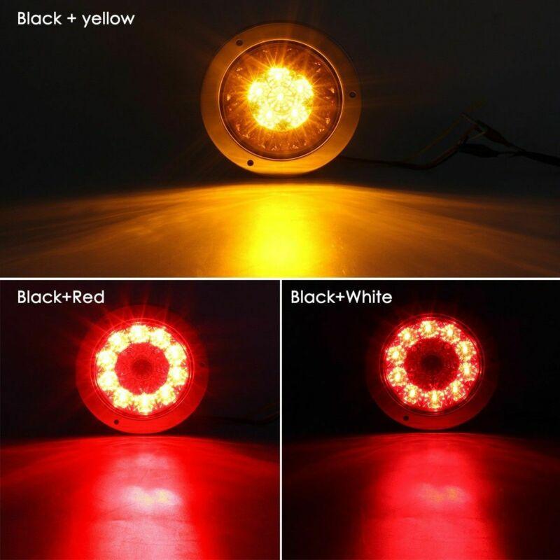 2X 4 Round Red/Amber 16-LED Truck Trailer Brake Stop Turn Signal Tail Light 12V