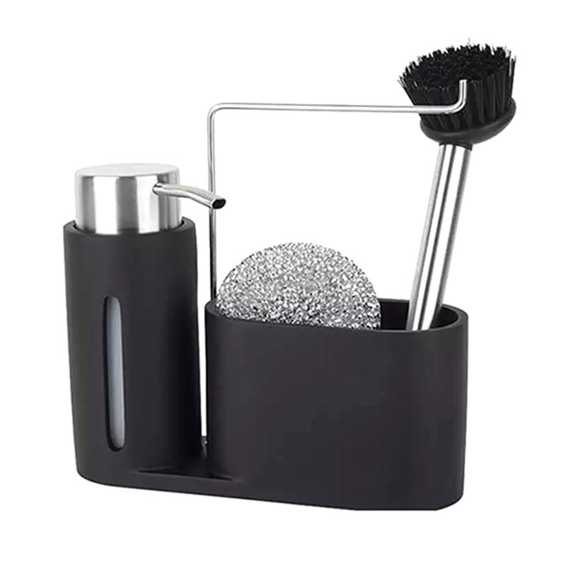 أحدث بالوعة العلبة تنظيف عدة المطبخ العلبة مع موزع الصابون الكرة الصلب وفرشاة الأسود مجموعة نظيفة لتنظيم المطبخ